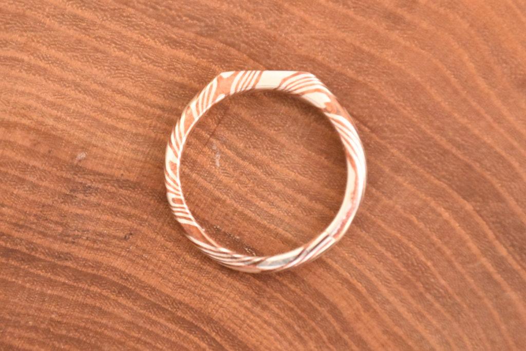 alliance bague mokume gane cuivre argent 925 sterling silver